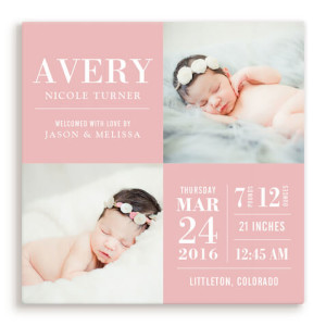 Custom Pink Baby Photo Canvas